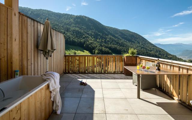 Terrasse Ferienwohnung Sonnenparadies in Südtirol