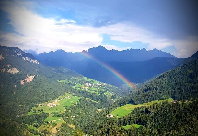 Rosengarten und Tiers mit Regenbogen